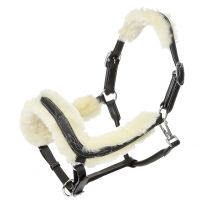 Kavalkade Anatomically shaped leather halter Ivy with lambs wool