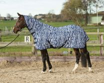 Harry's Horse Flysheet mesh with neck and surcingles, zebra french blue