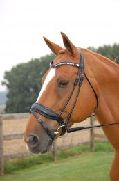 Dyon rolled bridle with a large crank noseband black
