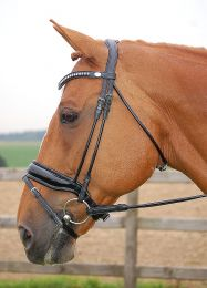 Dyon rolled bridle with a large crank patent noseband black