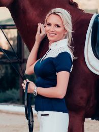 Equestrian Stockholm competition shirt Champion Navy White