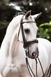 Premiera ''Rome'' Brown rolled double bridle with 4.5 cm patent leather noseband, silver buckles