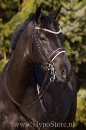 Premiera ''Prades'' Brown double bridle with white padding and crystal browband