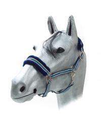 Kunststofhalster met nepbont blauw - lichtblauw