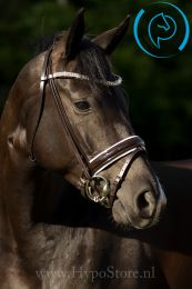"Premiera ""Athena"" brown bridle with white padded patent leather noseband, gold buckles"