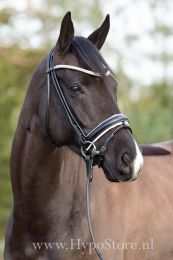 Premiera ''Imperia'' black rolled bridle with white padding and crystal browband