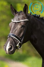 """Premiera """"Athena"""" black bridle with white padded patent leather noseband, silver buckles"""