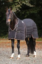 Rambo Optimo Stable Rug Heavy 400g Black with Tan, Orange & Black