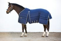 Rambo Optimo Stable Rug Heavy 400g Navy with Beige, Baby Blue & Navy