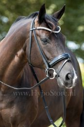"Premiera ""Athena"" black bridle with patent leather noseband, silver buckles"