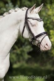 """Premiera """"Milano"""" Brown bridle with anatomically shaped headpiece and white padded patent leather noseband"""