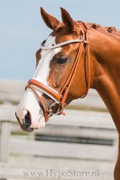 Premiera ''Imperia'' cognac rolled bridle with white padding and crystal browband, silver buckles