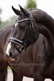"Premiera ""Milano"" Black bridle with anatomically shaped headpiece and white padded patent leather noseband"