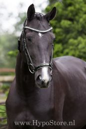 """Premiera """"Savona"""" black bridle with white padded drop patent leather noseband and anatomically shaped headpiece"""