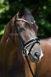 "Premiera ""Valentia"" black bridle with white padding and crystal browband, silver buckles"