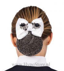 Nilette hairnet with bow white/black glitter