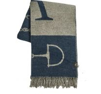 Adamsbro Merino Cashmere Throw Navy/Beige