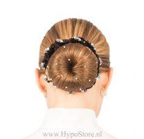 Nilette bun band black with multi color strass stones