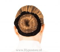 Nilette bun band black with strass stones