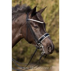Premiera ''Prades'' Black double bridle with white padding and crystal browband