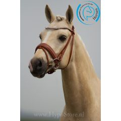 """Premiera """"Athena"""" cognac bridle with patent leather noseband, silver buckles"""