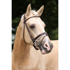 Premiera ''Monaco'' Brown bridle with white padded patent leather noseband, silver buckles