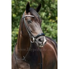"""Premiera """"Novara"""" Black rolled bridle with drop patent leather noseband"""