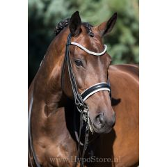 Premiera ''Levanto'' Black / White padded double bridle with crystal browband