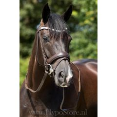 """Premiera """"Valentia"""" brown bridle with crystal browband, gold buckles"""