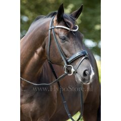 """Premiera """"Athena"""" black bridle with patent leather noseband, silver buckles"""