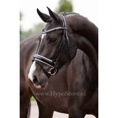 """Premiera """"Milano"""" Black bridle with anatomically shaped headpiece and white padded patent leather noseband"""