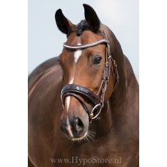 """Premiera """"Milano"""" Brown bridle with anatomically shaped headpiece and patent leather noseband, gold buckles"""