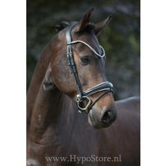 """Premiera """"Latina"""" black anatomic bridle with white padding and patent leather details"""