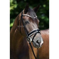 """Premiera """"Valentia"""" black bridle with white padding and crystal browband, silver buckles"""