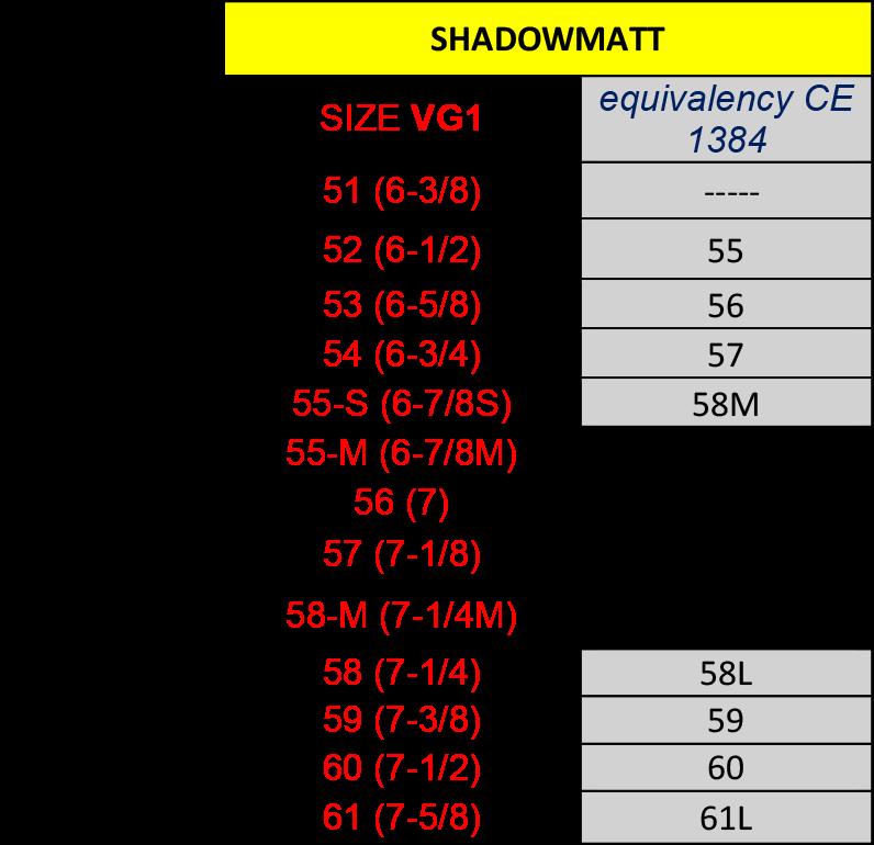 Shadowmatt Liner VG-1 Conversion Table